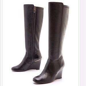 Tory Burch Black Hendin Wedge Heel Leather Boots